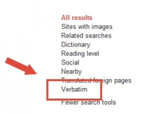 Verbatim google search tool